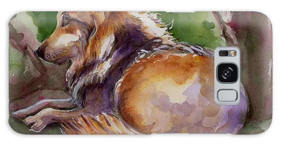 Wolf Art Galaxy S8 Case featuring the painting The Wolf Star by Maria's Watercolor