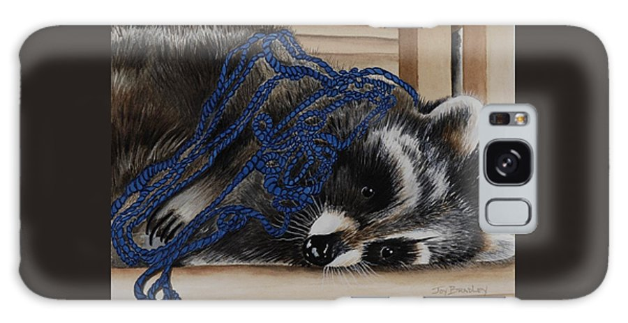 Raccoon Galaxy S8 Case featuring the painting The Yarn Won by Joy Bradley