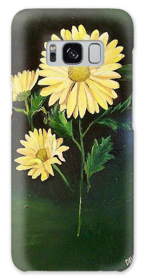 Flower Galaxy Case featuring the painting The Yellow Daisy by Wanda Dansereau