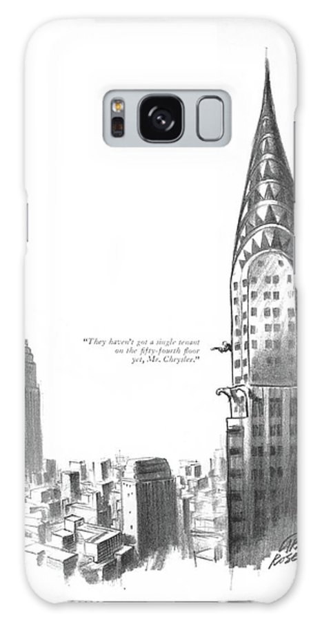 103939 Cro Carl Rose (office Boy With Telescope Reporting About Empire State Building.) About Apartment Apartments Boy Building City Competition Empire Estate ?at Home Homes House Manhattan Neighborhoods New Nyc Of?ce Real Regional Rent Reporting Skyscraper Skyscrapers Spy Spying State Telescope Urban York Galaxy S8 Case featuring the drawing They Haven't Got A Single Tenant by Carl Rose