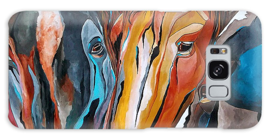 Horse Galaxy S8 Case featuring the painting Three Amigos by Patti Schermerhorn