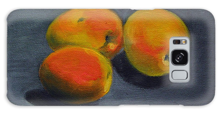 Food Galaxy S8 Case featuring the painting Three Apricots by Sarah Lynch