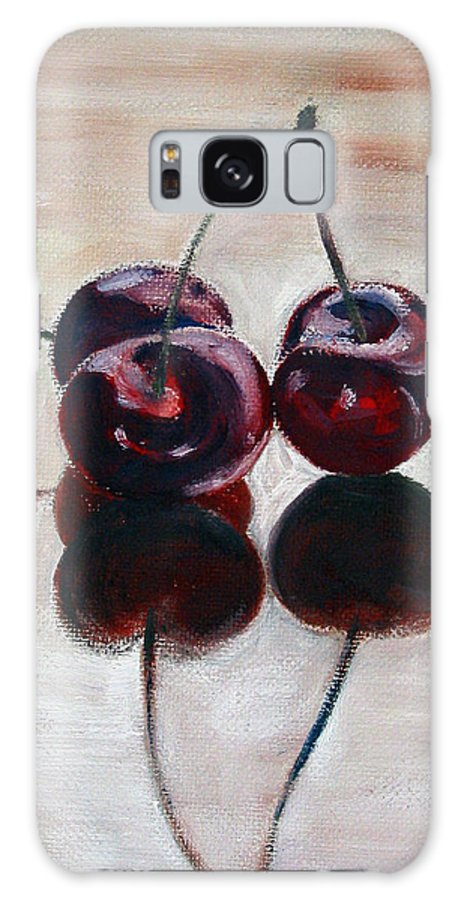 Food Galaxy Case featuring the painting Three Cherries by Sarah Lynch