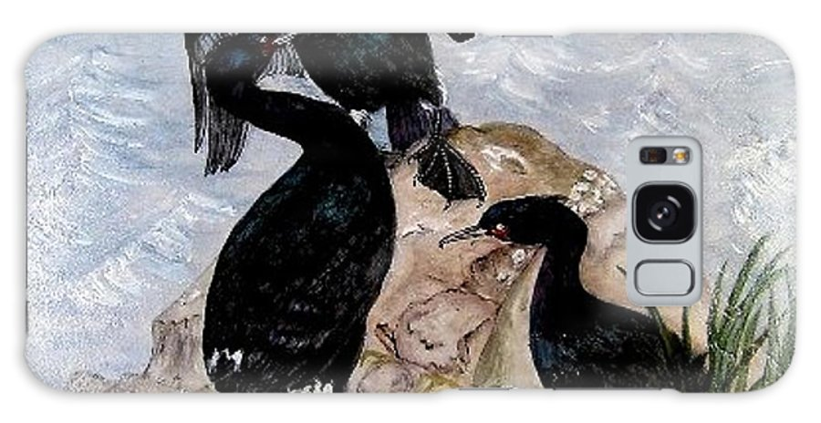 Cormorants Galaxy S8 Case featuring the painting Three Cormorants by Sandra Maddox