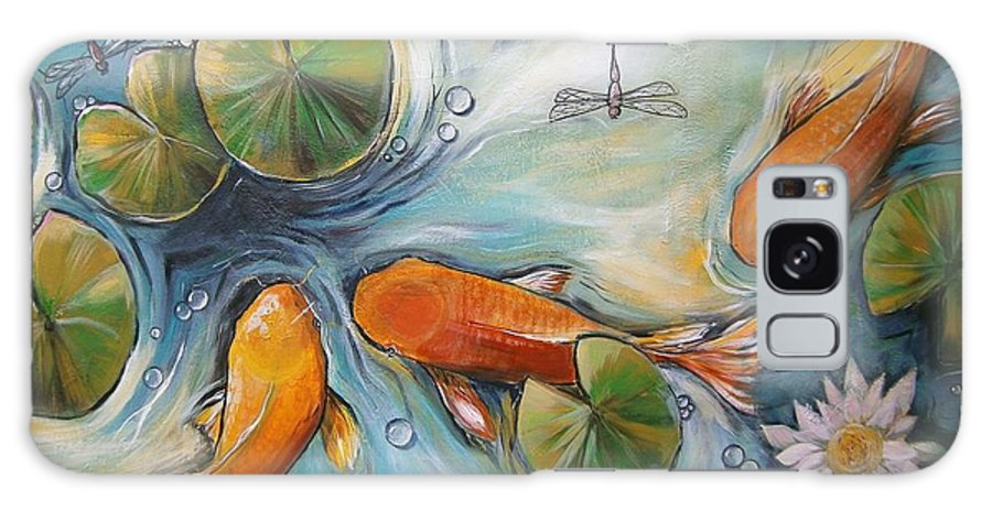 Koi Pond Galaxy S8 Case featuring the painting Three Koi Fishes - The Search by Soma Mandal Datta