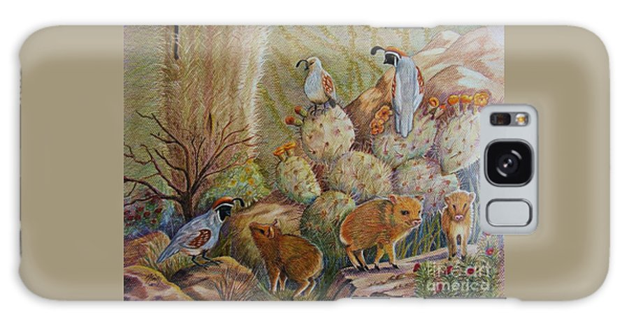 Desert Wildlife Galaxy S8 Case featuring the drawing Three Little Javelinas by Marilyn Smith