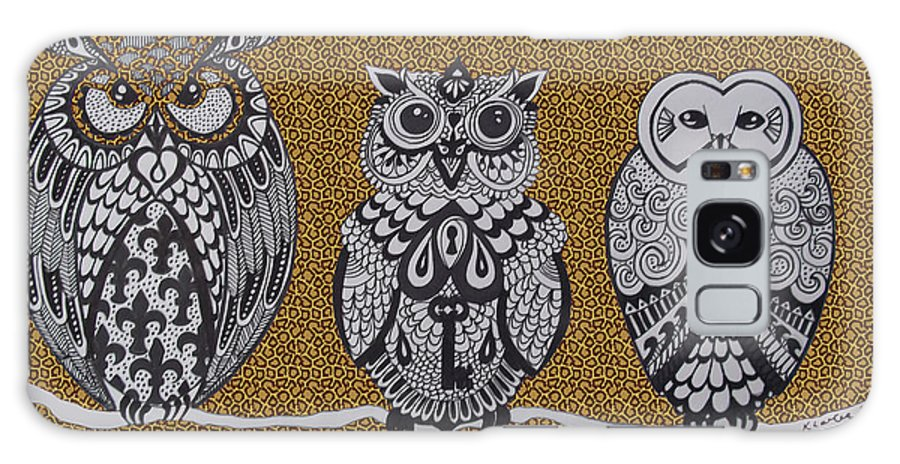 Owls Galaxy S8 Case featuring the drawing Three Owls On A Branch Leopard Print by Karen Larter