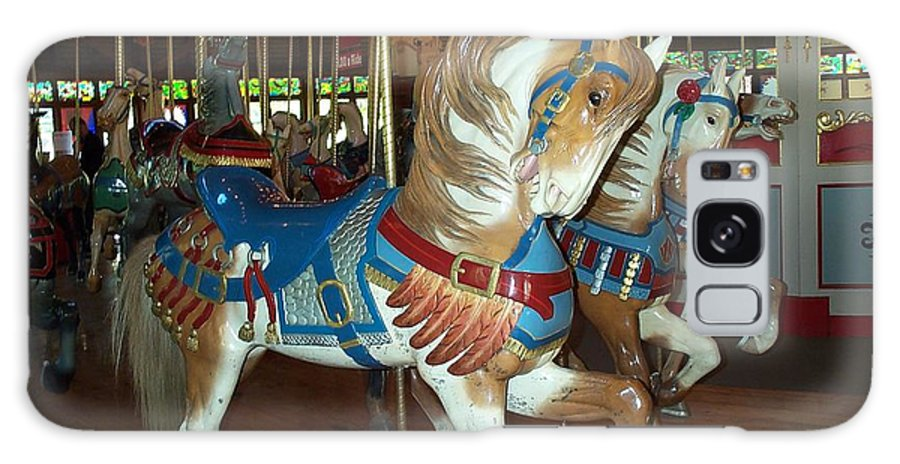 Carousel Galaxy Case featuring the photograph Three Ponies In White And Brown - Ct by Barbara McDevitt
