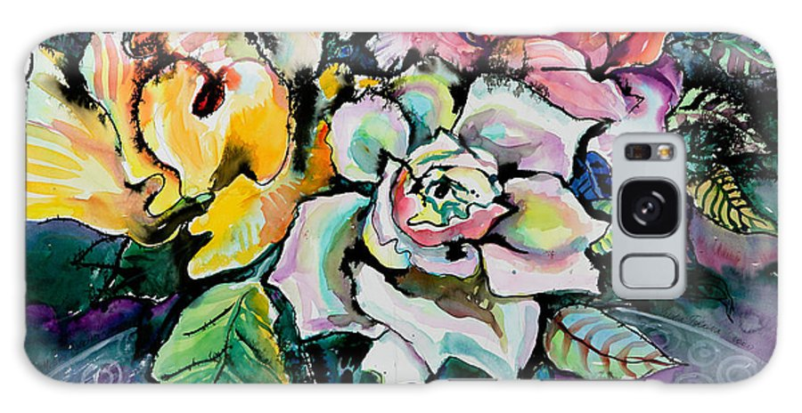 Still Life Galaxy Case featuring the painting Three Roses by Yelena Tylkina