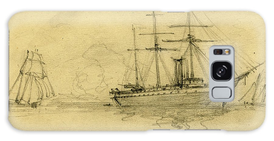 Three Ships Galaxy S8 Case featuring the drawing Three Ships At Sea, 1860-1865, Drawing, 1862-1865 by Quint Lox