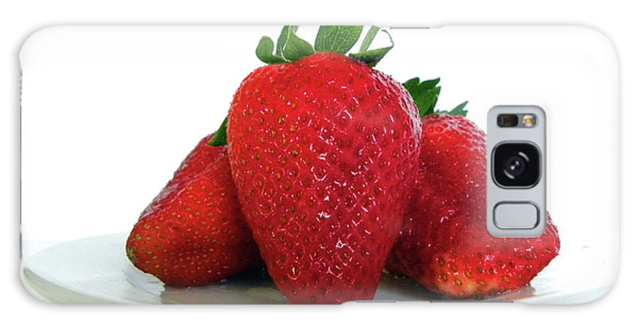 Strawberries Galaxy S8 Case featuring the photograph Three Strawberries by Julie Palencia