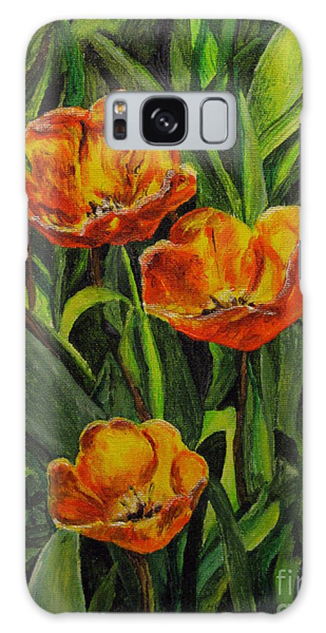 Flower Galaxy S8 Case featuring the painting Three Tulips by Nancie Johnson