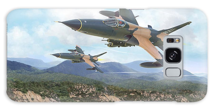 F-105 Thunderchief Galaxy Case featuring the painting Thuds Bringin' It Downtown by Mark Karvon