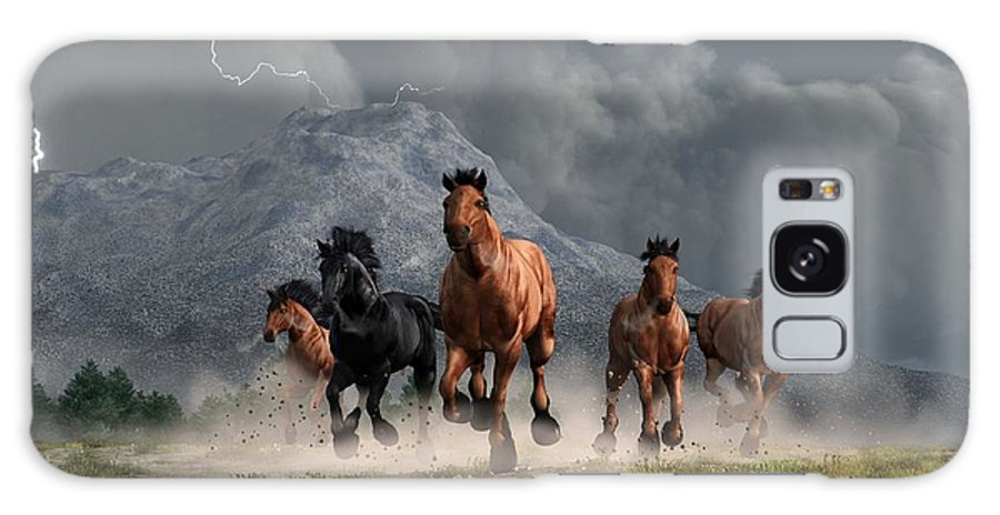 Horse Art Galaxy S8 Case featuring the digital art Thunder On The Plains by Daniel Eskridge