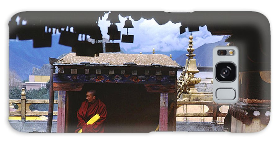 Tibet Galaxy Case featuring the photograph Tibetan Monk With Scroll On Jokhang Roof by Anna Lisa Yoder