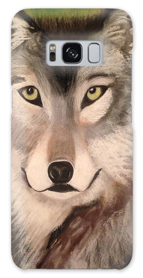 Wolf Galaxy S8 Case featuring the painting Timber Wolf In Summer by Renee Michelle Wenker