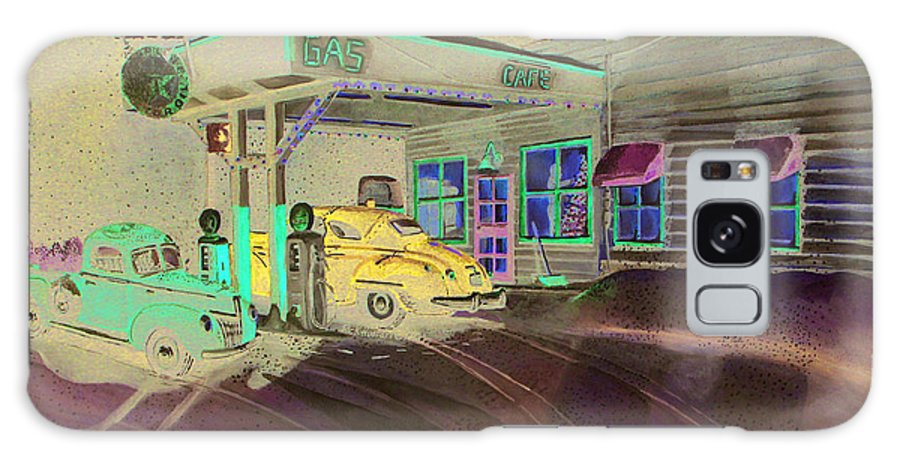 Rick Huotari Galaxy S8 Case featuring the painting Times Past Gas Station by Rick Huotari