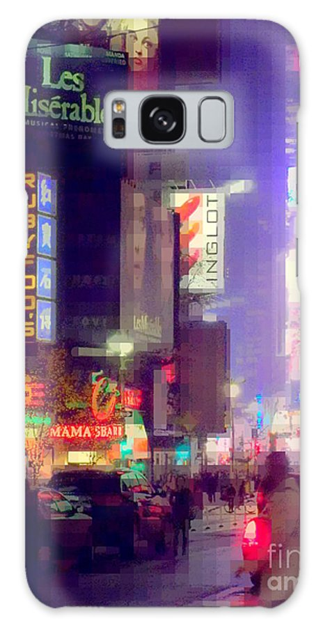Times Square Galaxy S8 Case featuring the photograph Times Square At Night - Columns Of Light by Miriam Danar