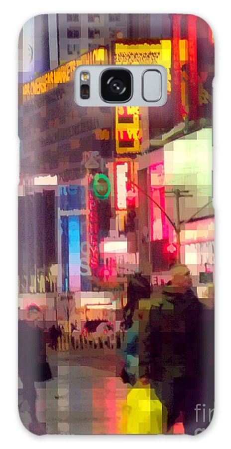 Abstract Galaxy S8 Case featuring the photograph Times Square - Man Walking With Yellow Bag by Miriam Danar