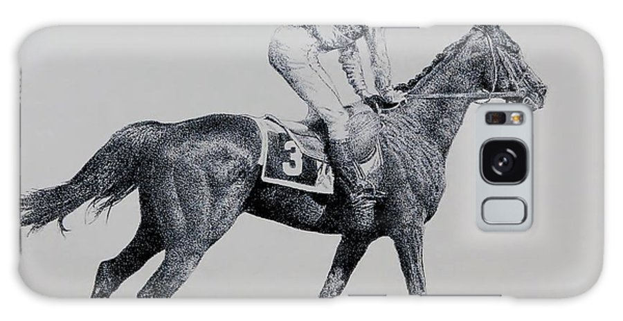 Racehorse Horse Horseracing Thorobreds Jockey Galaxy Case featuring the drawing To The Gate by Tony Ruggiero