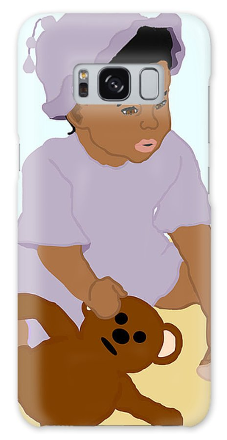 Toddler Galaxy Case featuring the painting Toddler And Teddy by Pharris Art
