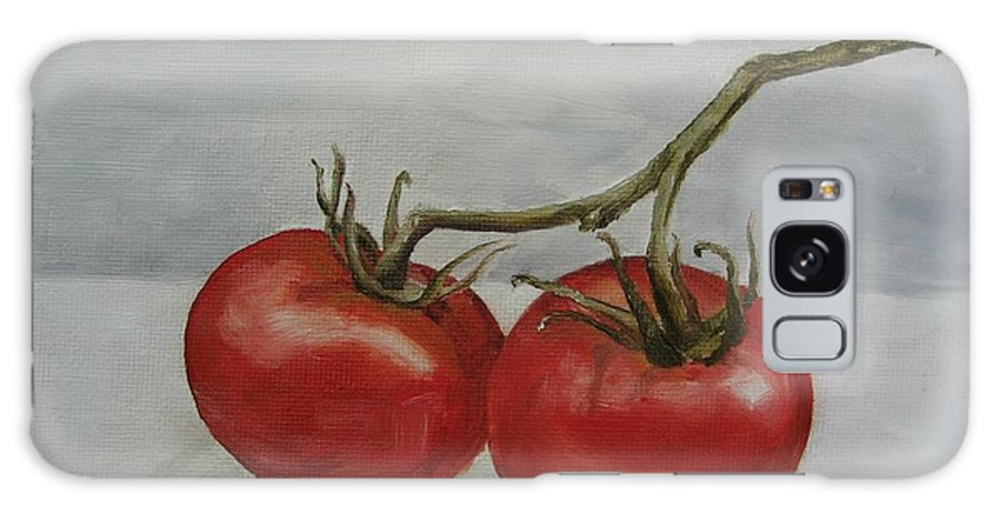 Oil Galaxy S8 Case featuring the painting Tomatoes On Vine by Jindra Noewi