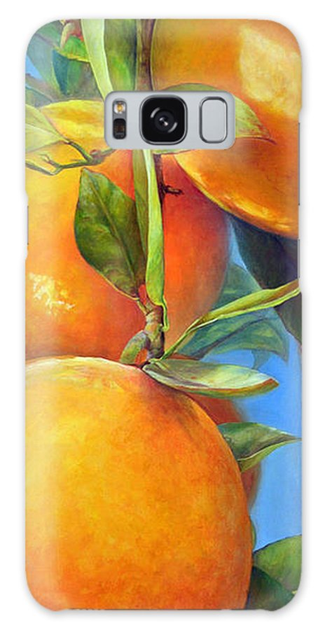 Acrylic Galaxy Case featuring the painting Tombee d Oranges by Muriel Dolemieux