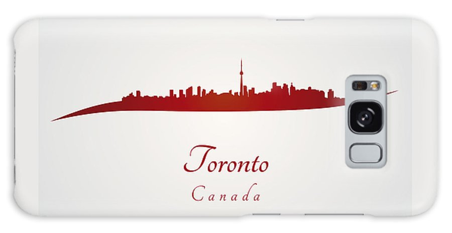 Toronto Skyline Galaxy S8 Case featuring the digital art Toronto Skyline In Red by Pablo Romero