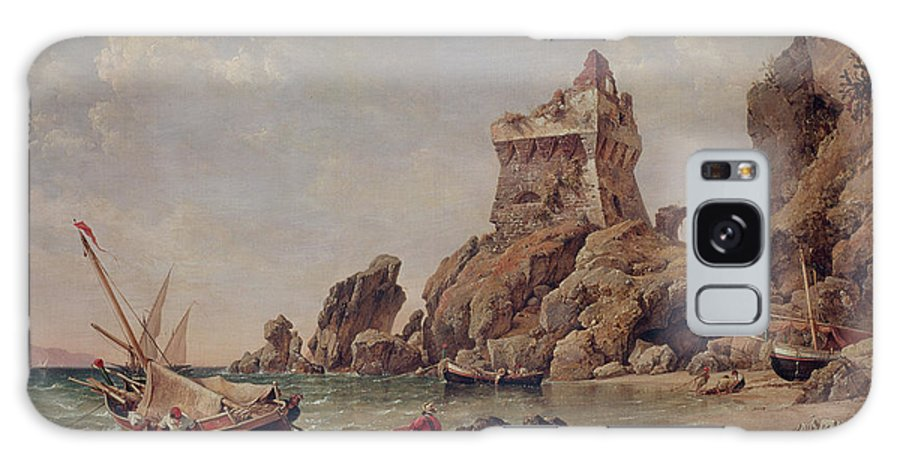 Sea Galaxy S8 Case featuring the photograph Tower Of Erchia, Gulf Of Salerno, 1849 Oil On Canvas by Edward William Cooke