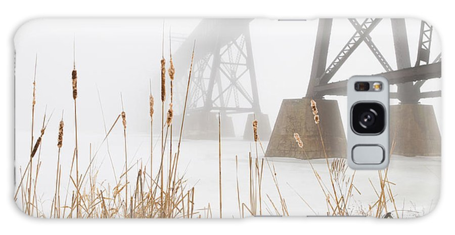 Cattails Galaxy S8 Case featuring the photograph Train Bridge Lost In Fog by Gord Horne