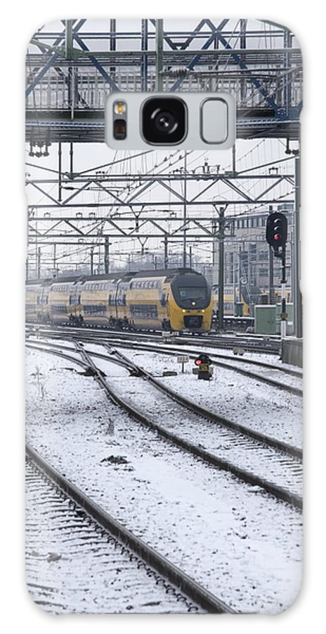Train Galaxy S8 Case featuring the photograph Train Station Zwolle In Winter Netherlands by Ronald Jansen