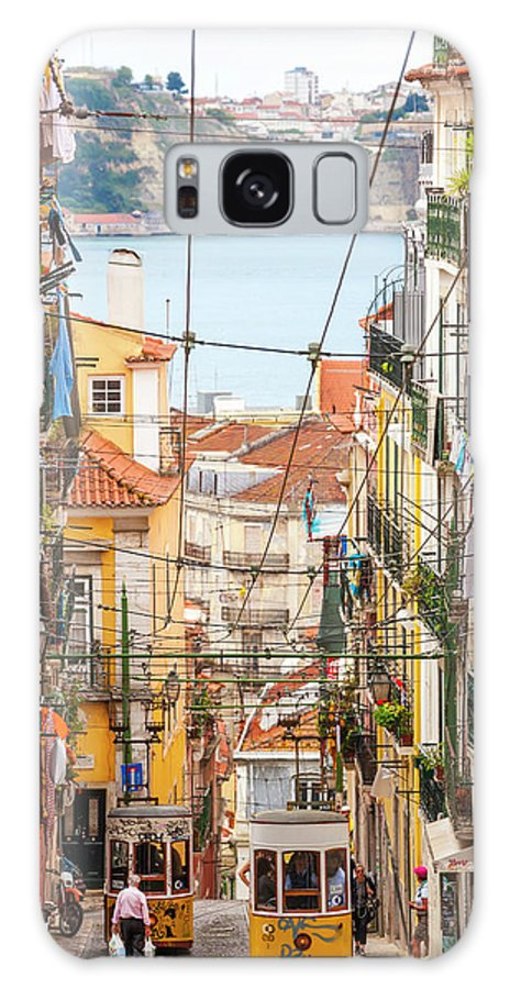 People Galaxy Case featuring the photograph Tram, Barrio Alto, Lisbon, Portugal by Peter Adams