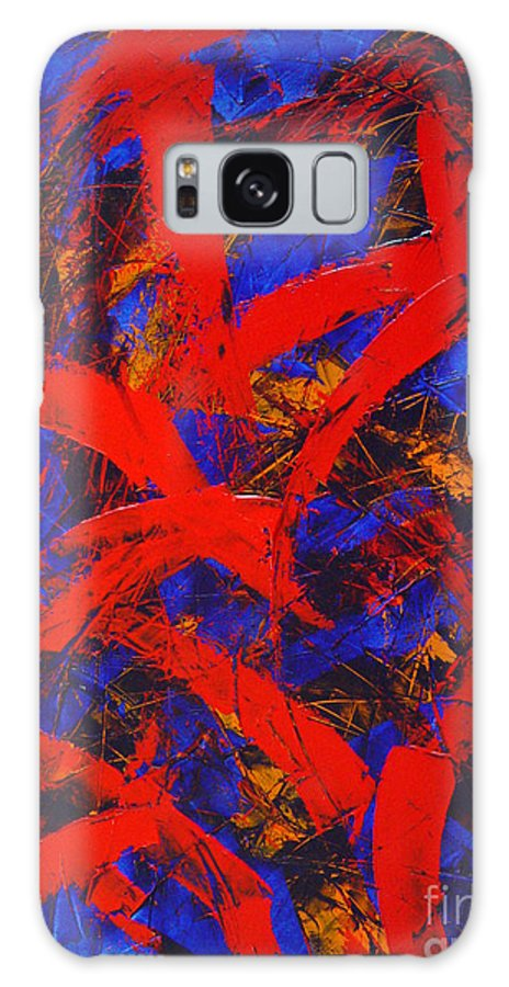 Abstract Galaxy S8 Case featuring the painting Transitions With Blue And Red by Dean Triolo