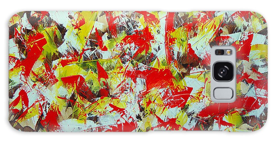 Abstract Galaxy Case featuring the painting Transitions With Yellow Brown And Red by Dean Triolo