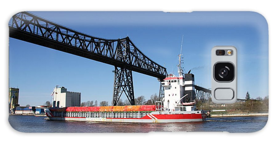 Bridge Galaxy S8 Case featuring the photograph Transporter Bridge Over Canal Rendsburg by Christiane Schulze Art And Photography