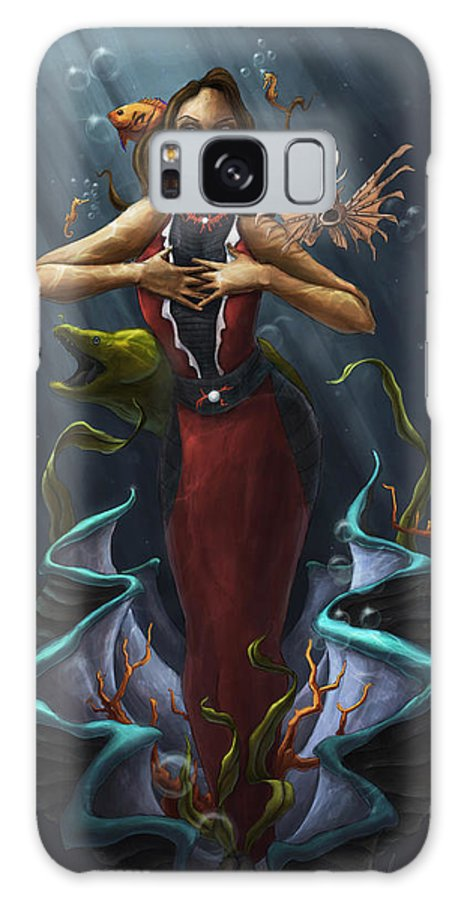 Michael Galaxy S8 Case featuring the digital art Tridacna - Red by Michael Trujillo