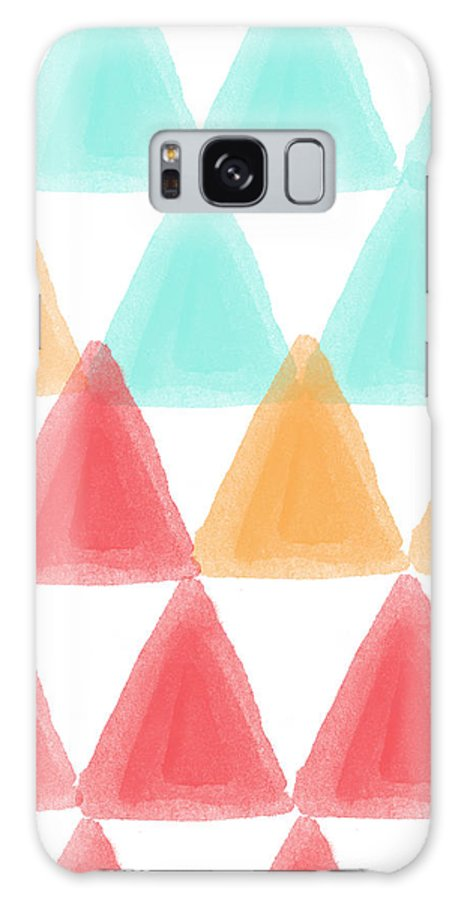 Triangles Galaxy Case featuring the painting Trifold- colorful abstract pattern painting by Linda Woods