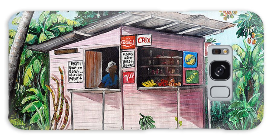 Shop Painting Galaxy Case featuring the painting Trini Roti Shop by Karin Dawn Kelshall- Best