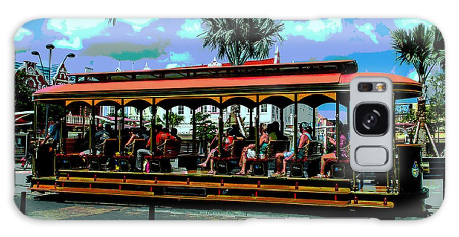 Aruba Galaxy S8 Case featuring the photograph Trolley Stop by Judy Wolinsky