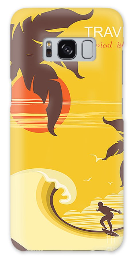 Surfboard Galaxy S8 Case featuring the digital art Tropical Paradise With Palms Island And by Tancha