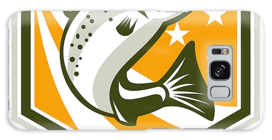Trout Galaxy S8 Case featuring the digital art Trout Jumping Retro Shield by Aloysius Patrimonio