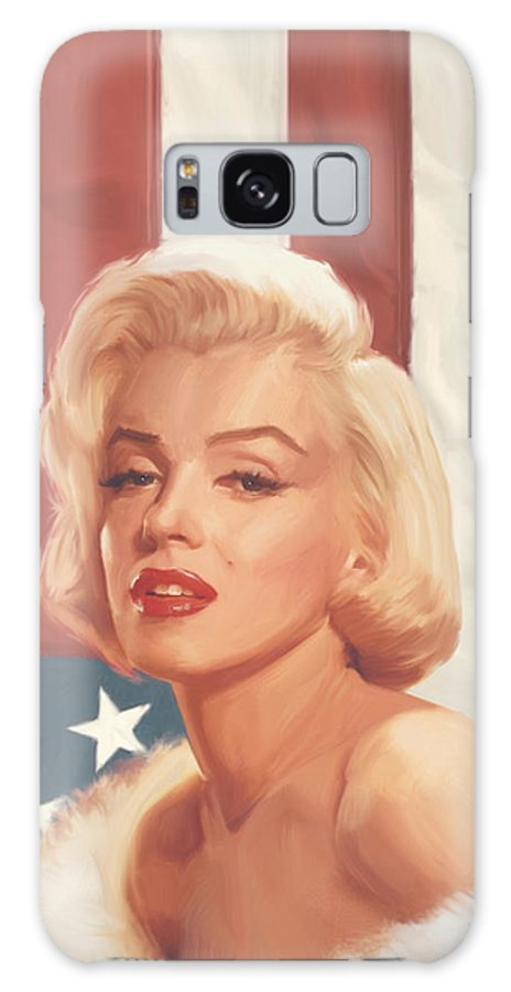 Marilyn Galaxy Case featuring the painting True Blue Marilyn In Flag by Chris Consani