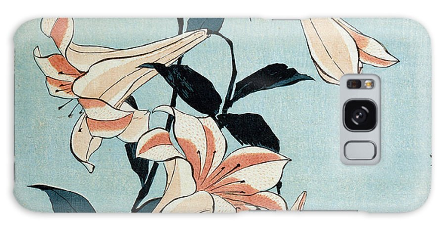 Flower Galaxy Case featuring the painting Trumpet Lilies by Hokusai