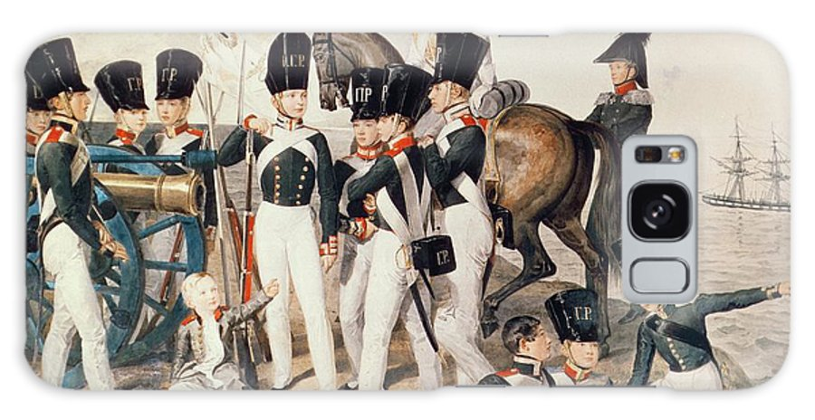 Military Galaxy S8 Case featuring the photograph Tsarevich Alexander 1818-81 With His Cadets At Peterhof, C.1823 Wc On Paper by Aleksandr Pavlovich Bryullov