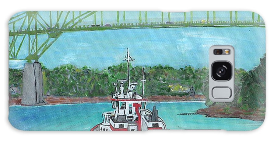Tugboats Galaxy S8 Case featuring the painting Tug Sabine Under Bourne Bridge by Cliff Wilson