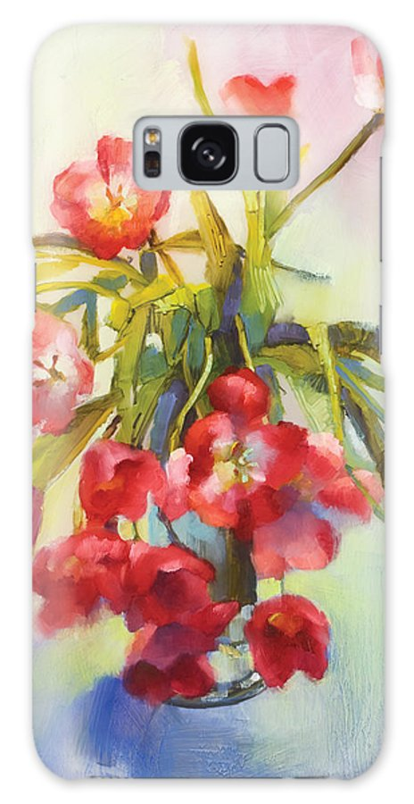 Florals Galaxy S8 Case featuring the painting Tulip Fling by Cathy Locke