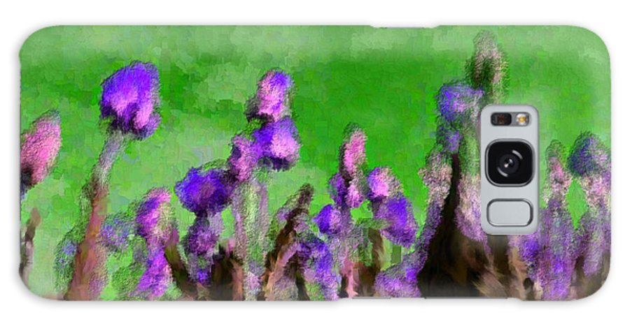 Flowers Galaxy S8 Case featuring the digital art Tulips Abound Green Purple by Holley Jacobs