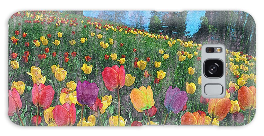 Landscape Galaxy S8 Case featuring the painting Tulips Lake by Anthony Caruso