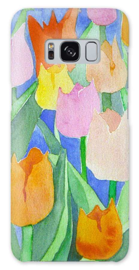Tulips Galaxy Case featuring the painting Tulips Multicolor by Christina Rahm Galanis