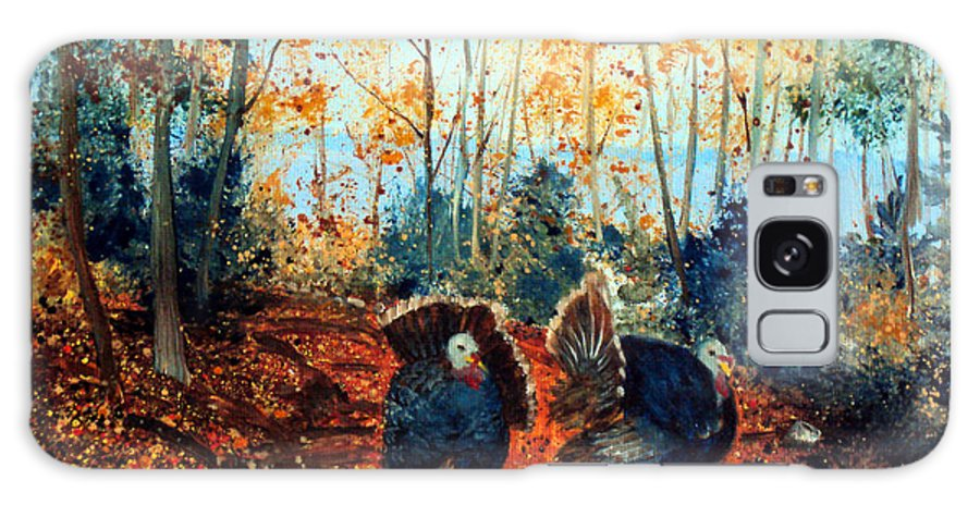 Maine Galaxy S8 Case featuring the painting Turkey Dance On The Pond Road by Laura Tasheiko